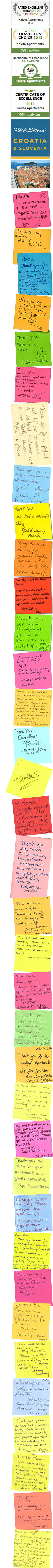 Split Apartments KALETA APARTMENTS - Guests Gratitude Notes